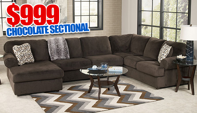 Jessa Place Chocolate Left Facing Chaise Sectional